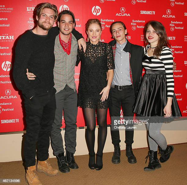 Actors Jake Weary Daniel Zovatto Maika Monroe Keir Gilchrist and Olivia Luccardi arrive at the 'It Follows' premiere during the 2015 Sundance Film...