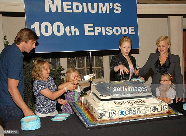 Actors Jake Weber Maria Lark Miranda Carabello Sofia Vassilleva Patricia Arquette and Madison Carabello attend the 100th episode cake cutting...