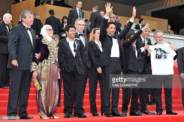 Actors Jamel Debbouze Sami Bouajila Roschdy Zem Director Rachid Bouchareb and Chafia Boudraa at the premiere of Outside the Law during the 63rd...