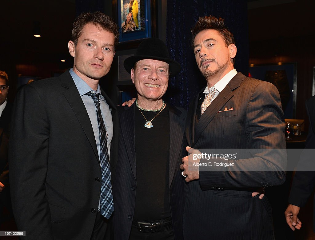 Actors James Badge Dale, Brian Moses and Robert Downey Jr. attend Marvel's Iron Man 3 Premiere after party at Hard Rock Cafe on April 24, 2013 in Hollywood, California.