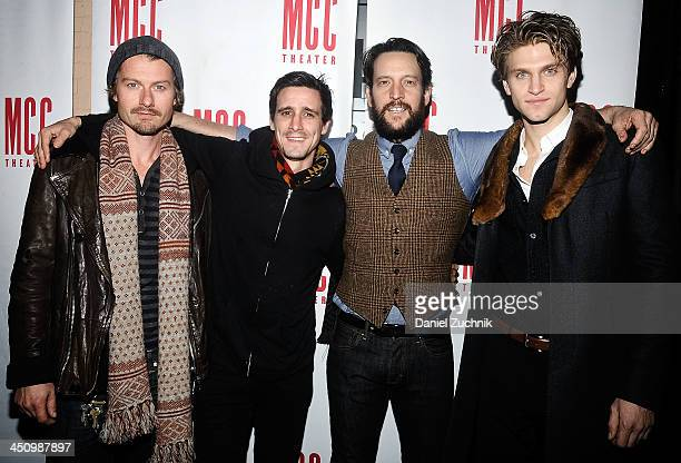 Actors James Badge Dale James Ransone John Pollono Keegan Allen attend the 'Small Engine Repair' Opening Night after party at 49 Grove on November 20...