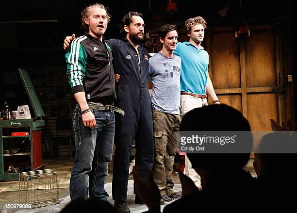 Actors James Badge Dale John Pollono James Ransone and Keegan Allen participate in the opening night curtain call for Small Engine Repair at Lucille...