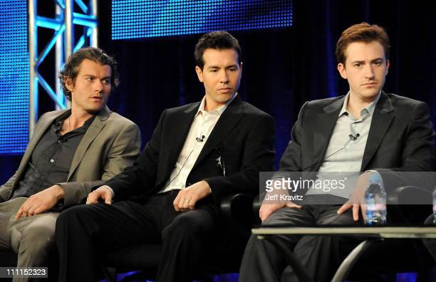 """Actors James Badge Dale, Jon Seda, and Joe Mazzello of """"The Pacific"""" speak during the HBO portion of the 2010 Television Critics Association Press..."""