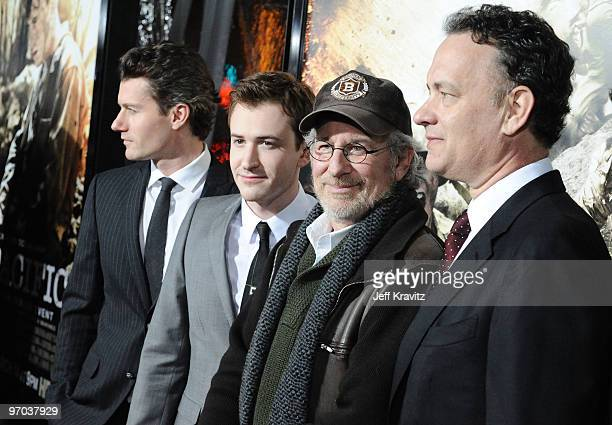 Actors James Badge Dale Joseph Mazzello executive producers Steven Spielberg and Tom Hanks arrive at HBO's premiere of The Pacific held at Grauman's...