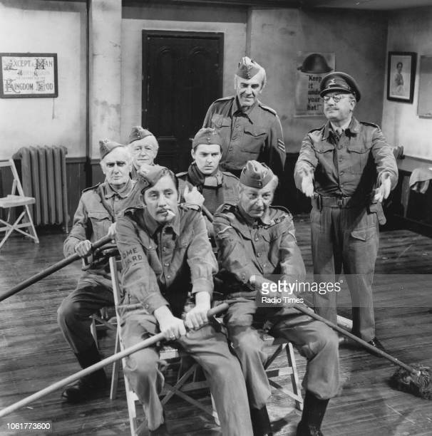 Actors James Beck John Laurie Arnold Ridley Clive Dunn Ian Lavender John Le Mesurier and Arthur Lowe in a scene from episode 'Song of the Sea' of the...