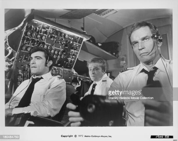 Actors James Brolin and Charlton Heston in a scene from the movie 'Skyjacked' 1972