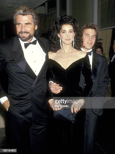 Actors James Brolin, Connie Sellecca, and Josh Brolin attend the 44th Annual Golden Globe Awards on January 31, 1987 at Beverly Hilton Hotel in...