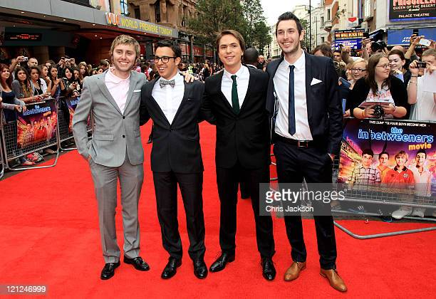 Actors James Buckley, Simon Bird, Joe Thomas and Blake Harrison attend the world film premiere of The Inbetweeners Movie at Vue West End on August...