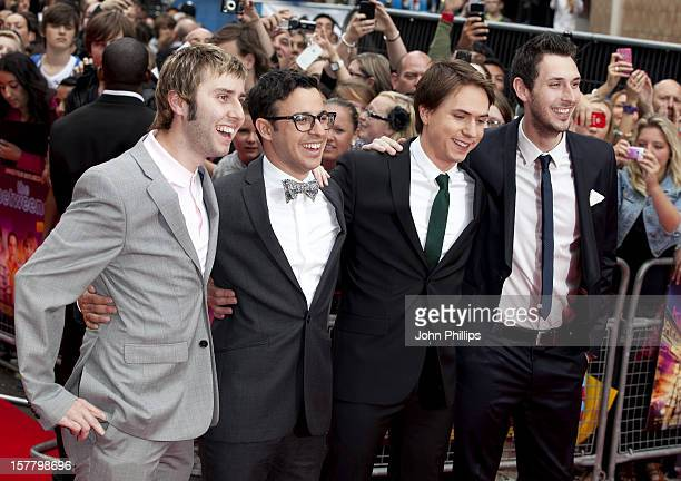 Actors James Buckley, Simon Bird, Joe Thomas And Blake Harrison Attend The World Film Premiere Of The Inbetweeners Movie At Vue West End.