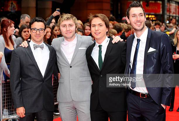 Actors James Buckley Simon Bird Joe Thomas and Blake Harrison attend the world film premiere of The Inbetweeners Movie at Vue West End on August 16...