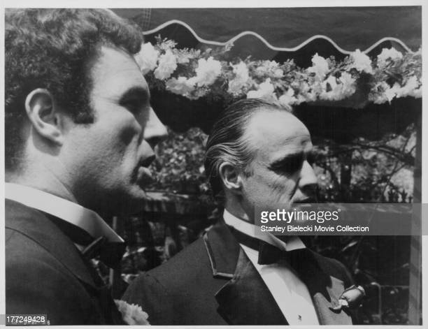 Actors James Caan and Marlon Brando in a scene from the movie 'The Godfather' 1975