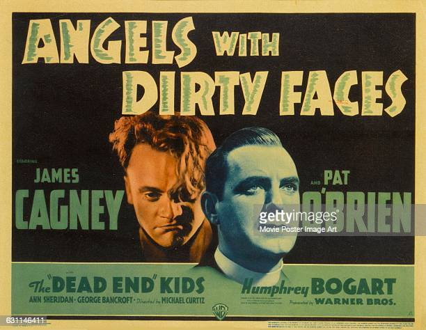 Actors James Cagney and Pat O'Brien appear on a lobby card for the 1938 film noir 'Angels with Dirty Faces' directed by Michael Curtiz for Warner Bros