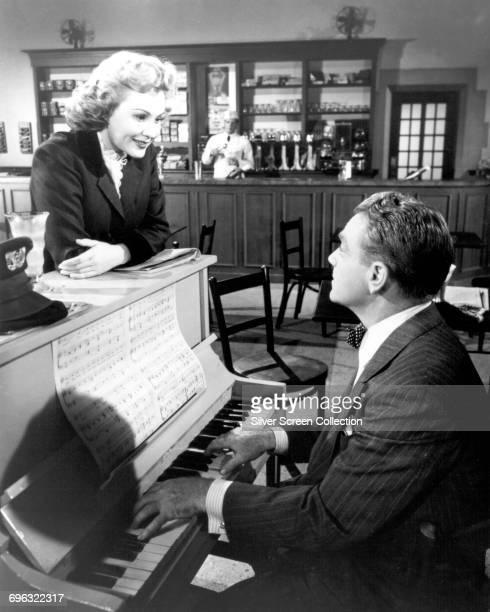 Actors James Cagney as Arthur 'Cody' Jarrett and Virginia Mayo as Verna Jarrett in the film noir 'White Heat' 1949