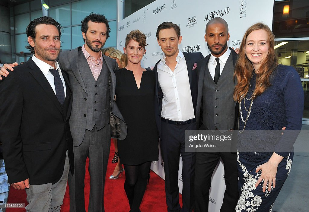 Actors James Callis, Bret McKenzie, director Jerusha Hess, actors J.J. Feild, Ricky Whittle and author Shannon Hale arrive at the premiere of 'Austenland' at ArcLight Hollywood on August 8, 2013 in Hollywood, California.