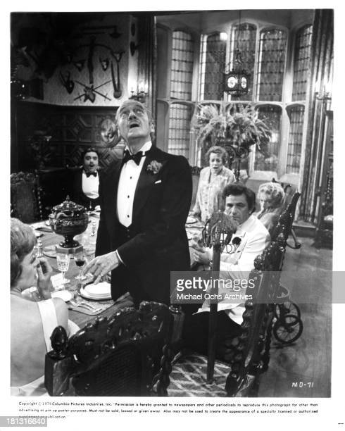 Actors James Coco actresses Elsa Lanchester Estelle Winwood actor Peter Sellers actor David Niven and actress Maggie Smith on the set of Columbia...