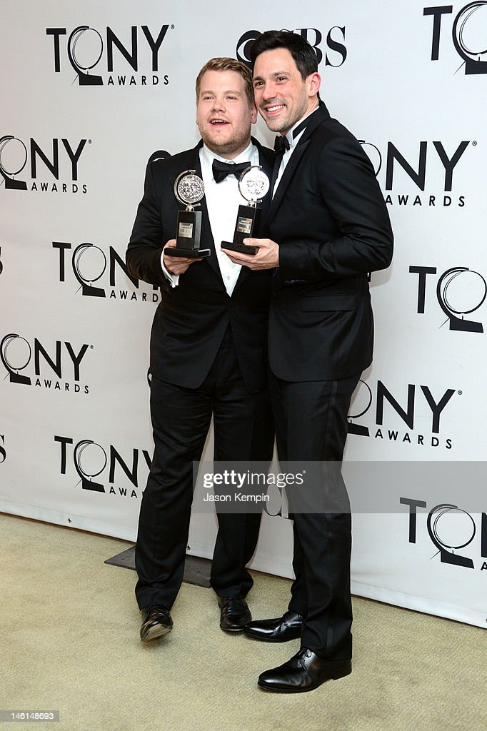 Actors James Corden, winner of Best Performance by a Leading Actor in a Play for 'One Man, Two Guvnors' and Steve Kazee, winner of Best Performance by a Leading Actor in a Musical for 'Once' pose in the 66th Annual Tony Awards press room at The Beacon Theatre on June 10, 2012 in New York City.