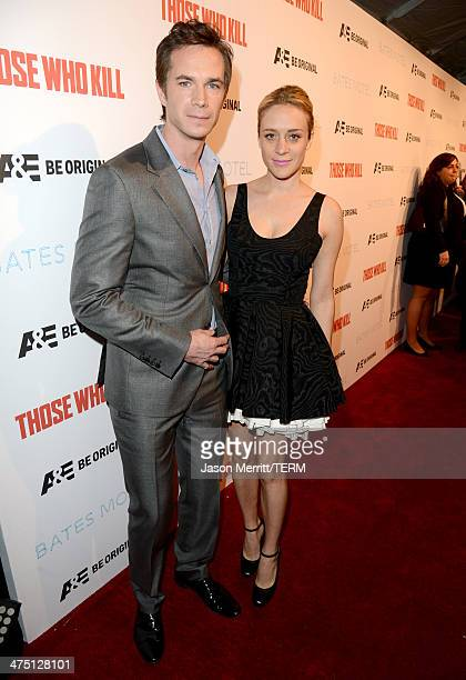 """Actors James D'Arcy and Chloe Sevigny attend A&E's """"Bates Motel"""" and """"Those Who Kill"""" Premiere Party at Warwick on February 26, 2014 in Hollywood,..."""