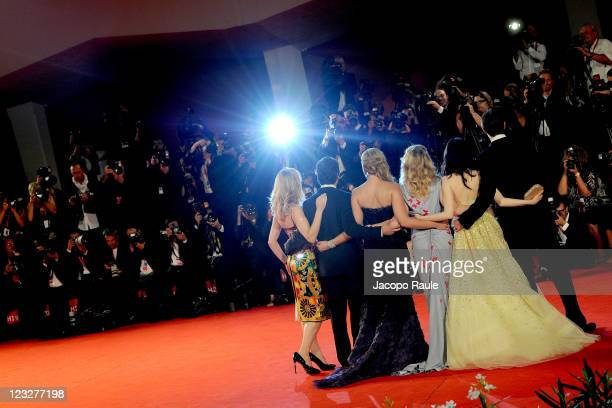 "Actors James D'Arcy, Andrea Riseborough, Madonna, Abbie Cornish, Oscar Isaac and Natalie Dormer attend the ""W.E."" premiere at the Palazzo Del Cinema..."