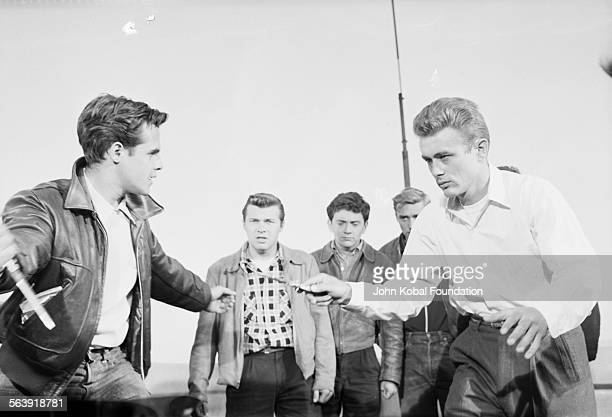 Actors James Dean and Corey Allen with Dennis Hopper in the background in a fight scene from the film 'Rebel Without a Cause' for Warner Bros Studios...