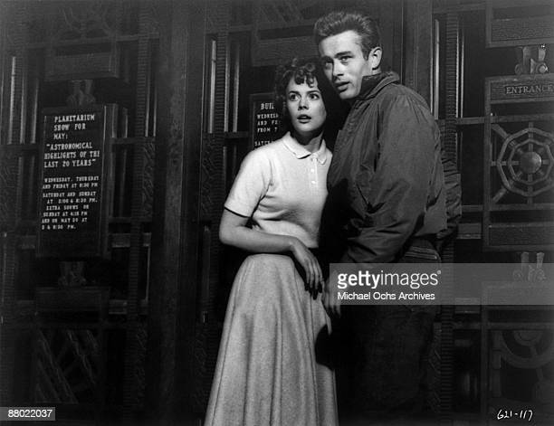 Actors James Dean and Natalie Wood in a scene from the Warner Bros film 'Rebel Without A Cause' at the Griffith Park Observatory in 1955 in Los...