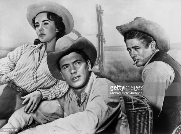 Actors James Dean Elizabeth Taylor and Rock Hudson pose for a composit photo on the set of the Warner Bros film 'Giant' in 1955 in Marfa Texas