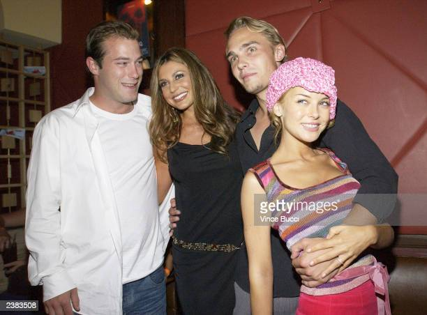 Actors James DeBello Cerina Vincent Joey Kern and Jordan Ladd attend the afterparty for the premiere of the film Cabin Fever on August 8 2003 at Star...