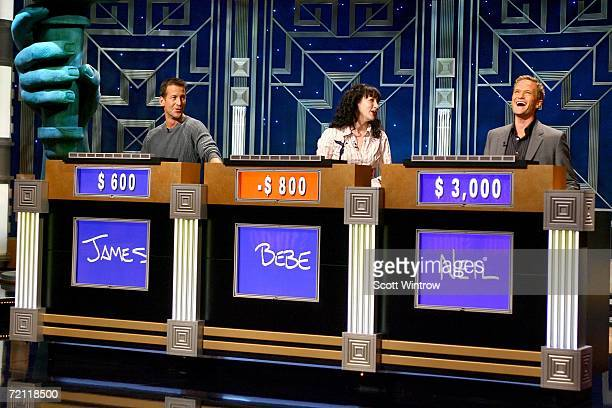 Actors James Denton Bebe Neuwirth and Neil Patrick Harris during a rehearsal for Celebrity Jeopardy at Radio City Music Hall on October 08 2006 in...