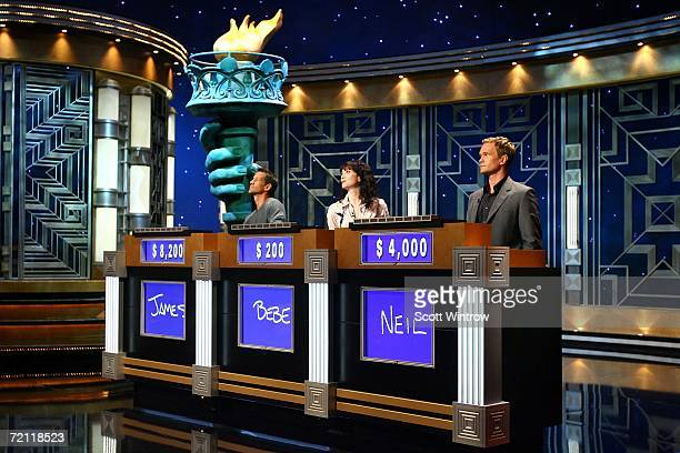 Actors James Denton, Bebe Neuwirth and Neil Patrick Harris during a rehearsal for Celebrity Jeopardy at Radio City Music Hall on October 08, 2006 in...