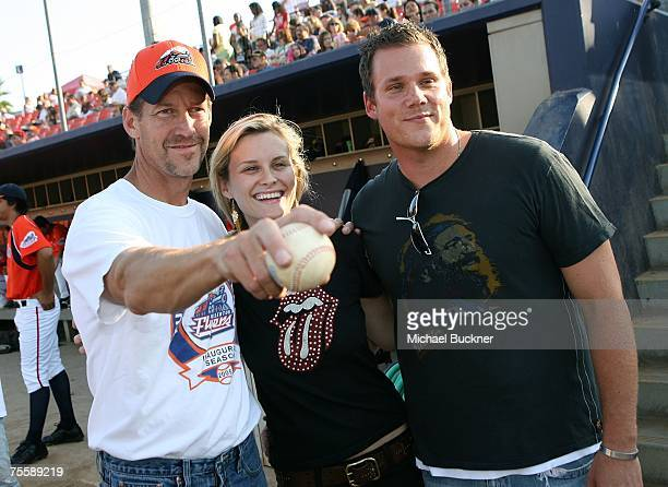 Actors James Denton Bonnie Somerville and television personality Bob Guiney attend the Orange County Fylers game at Cal State Fullerton on July 21...