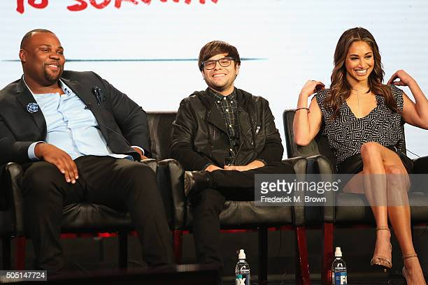 Actors James Earl Charlie Saxton and Meaghan Rath speak onstage during Cooper Barrett's Guide to Surviving Life panel discussion at the FOX portion...