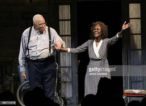 Actors James Earl Jones and Cicely Tyson take a bow during curtain call for the Broadway opening night of 'The Gin Game' at the John Golden Theatre...