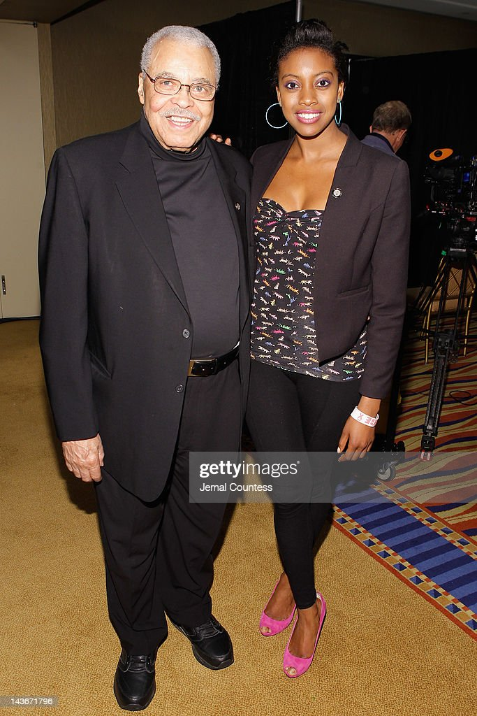 Actors James Earl Jones and Condola Rashad attend the 2012 Tony Awards - Meet The Nominees Press Reception at Millennium Broadway Hotel on May 2, 2012 in New York City.