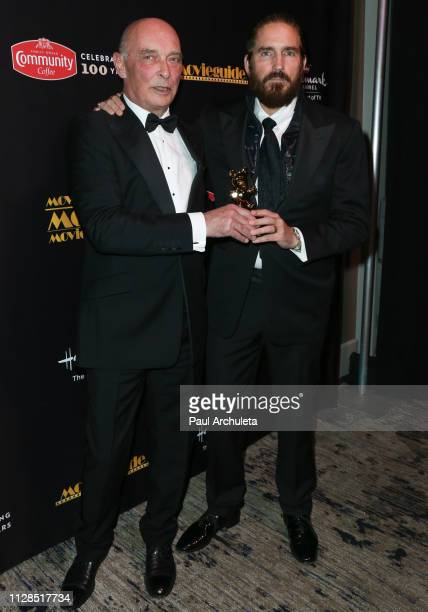 Actors James Faulkner and Jim Caviezel visit the Press Room for the 27th Annual Movieguide Awards Gala at Universal Hilton Hotel on February 08 2019...