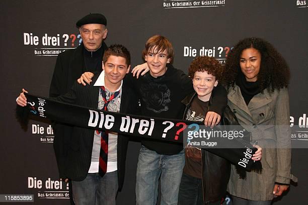"Actors James Faulkner, Chancellor Miller, Nick Price, Cameron Monaghan amd Naima Sebe attend the German premiere of ""Die drei ??? - Das Geheimnis der..."