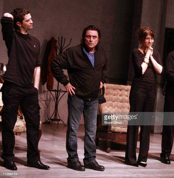 Actors James Frain Ian McShane and Eve Best Michael McKean Gareth Saxe and Raul Esparza take their Curtain Call at 'The Homecoming' on Broadway's...