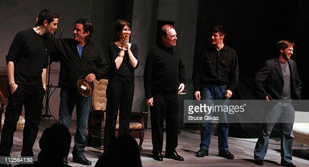 Actors James Frain Ian McShane Eve Best Michael McKean Gareth Saxe and Raul Esparza take their Curtain Call at 'The Homecoming' on Broadway's...