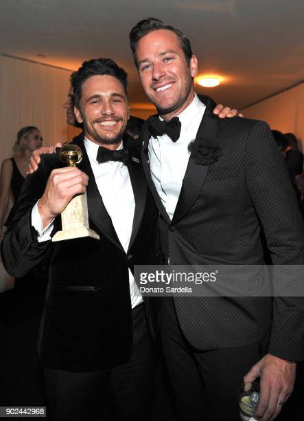 Actors James Franco and Armie Hammer attend the 2018 InStyle and Warner Bros 75th Annual Golden Globe Awards PostParty at The Beverly Hilton Hotel on...