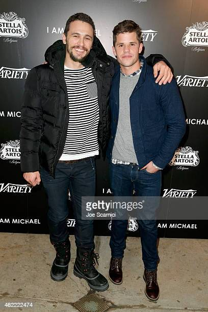 Actors James Franco and Charlie Carver attend the Variety dinner celebrating James Franco and 'I Am Michael' at the Stella Artois Cafe on January 25...