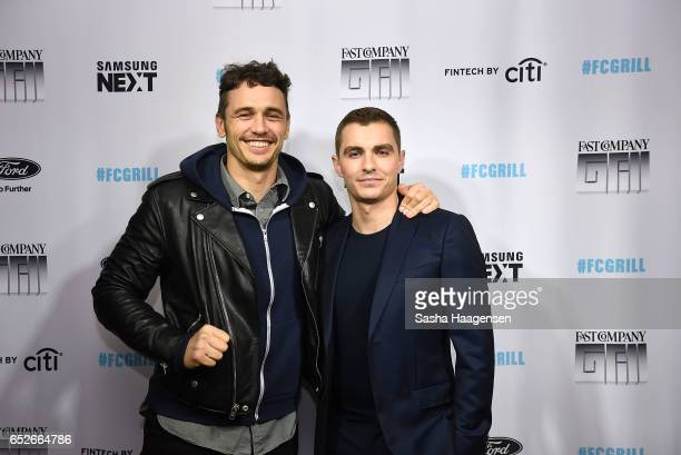 Actors James Franco and Dave Franco attend Fast Company's prereception for a screening of 'The Disaster Artist' at the FC Grill on March 12 2017 in...