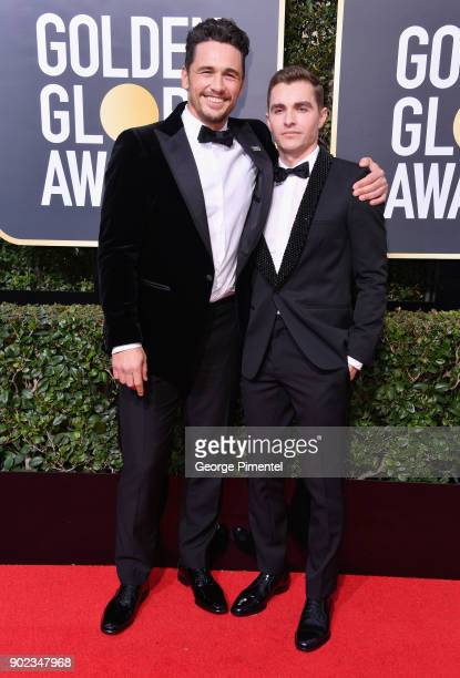 Actors James Franco and Dave Franco attend The 75th Annual Golden Globe Awards at The Beverly Hilton Hotel on January 7 2018 in Beverly Hills...
