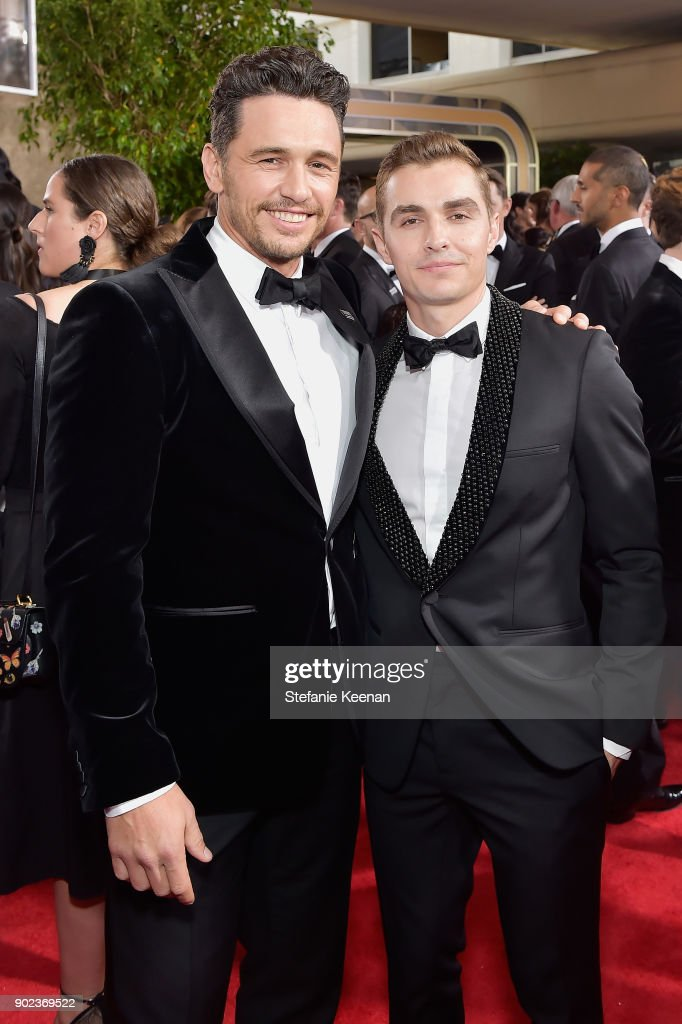 Actors James Franco and Dave Franco attend The 75th Annual Golden Globe Awards at The Beverly Hilton Hotel on January 7, 2018 in Beverly Hills, California.