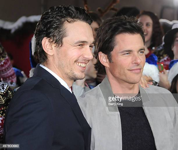 Actors James Franco and James Marsden attend premiere of Columbia Pictures' 'The Night Before' at The Theatre At The Ace Hotel on November 18 2015 in...