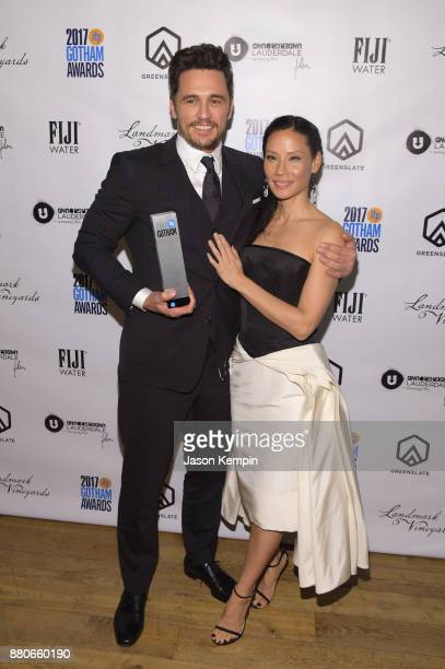 Actors James Franco and Lucy Liu attend the GreenSlate Greenroom at The 2017 Gotham Awards at Cipriani Wall Street on November 27 2017 in New York...