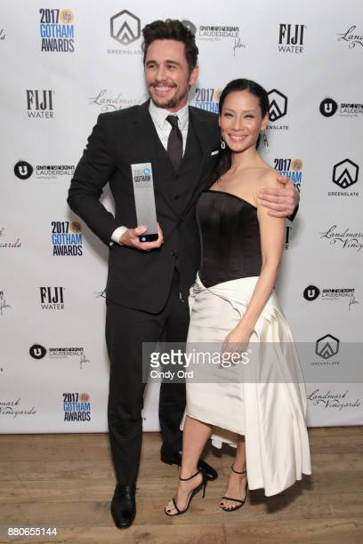 Actors James Franco and Lucy Liu poses backstage during IFP's 27th Annual Gotham Independent Film Awards on November 27 2017 in New York City