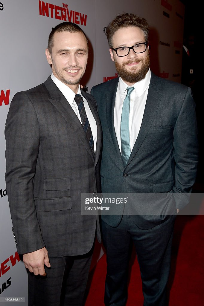 Actors James Franco (L) and Seth Rogen attend the Premiere of Columbia Pictures' 'The Interview' at The Theatre at Ace Hotel Downtown LA on December 11, 2014 in Los Angeles, California.