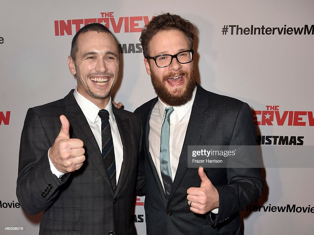 Actors James Franco and Seth Rogen attend the premiere Of Columbia Pictures' 'The Interview' at The Theatre at Ace Hotel Downtown LA on December 11, 2014 in Los Angeles, California.