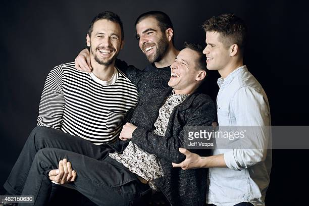 Actors James Franco and Zachary Quinto filmmaker Justin Kelly and actor Charlie Carver of 'I Am Michael' pose for a portrait at the Village at the...