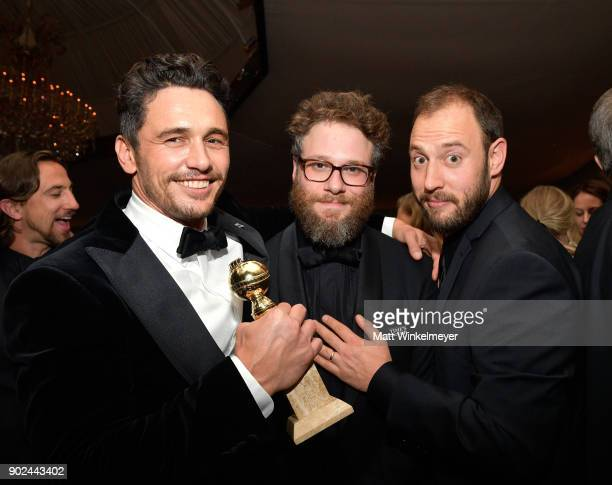 Actors James Franco Seth Rogen and screenwriter Evan Goldberg attend the 2018 InStyle and Warner Bros 75th Annual Golden Globe Awards PostParty at...