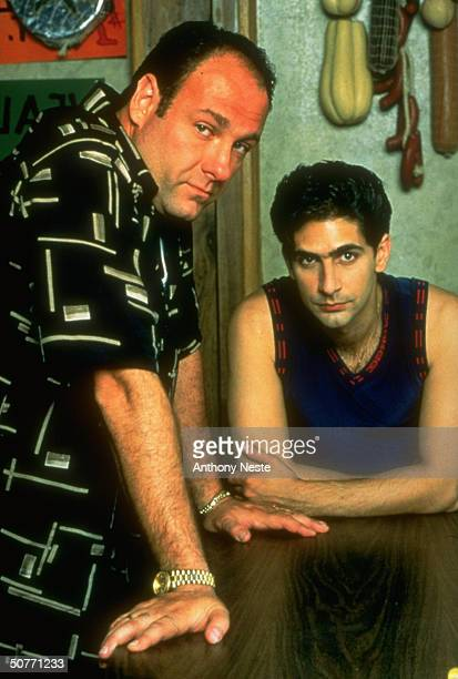 Actors James Gandolfini and Michael Imperioli in a scene from the TV show The Sopranos