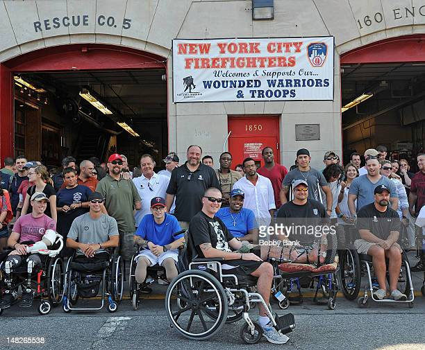 Actors James Gandolfini and Tony Sirico attends the 2012 Wounded Warrior Adaptive Sports Program at Rescue Ladder Company on July 12 2012 in the...